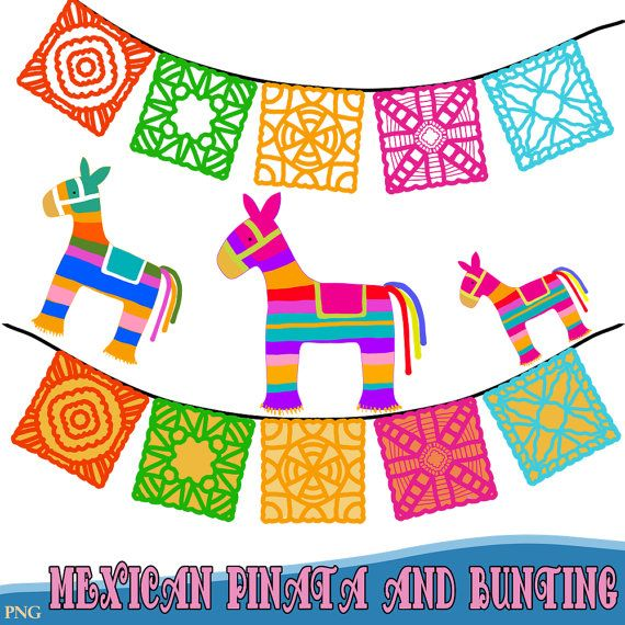 Mexican Pinatas And Bunting Fiesta Clipart Comes In Png Etsy Mexican Pinata Free Clip Art Clip Art