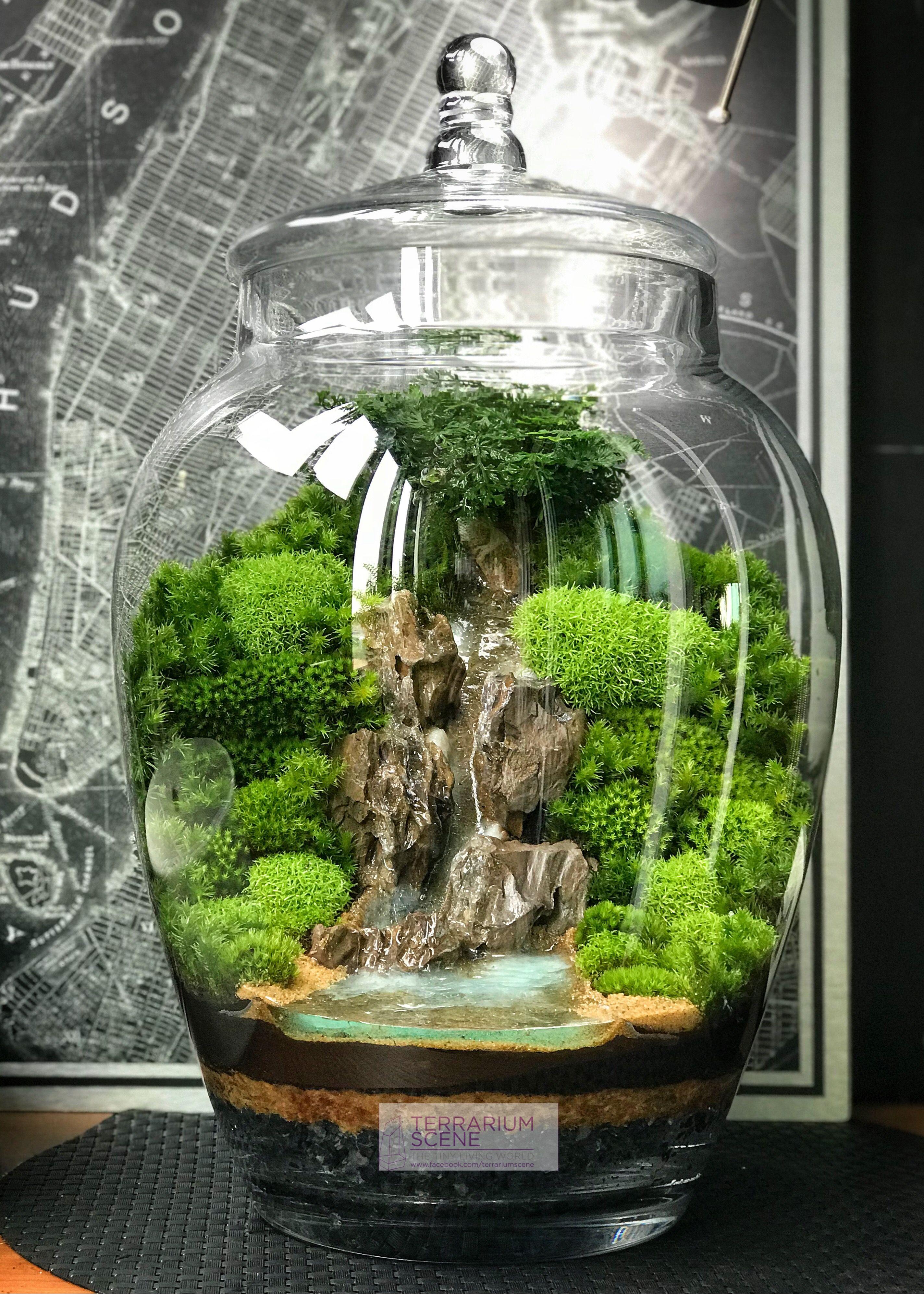Home decor mini terrarium waterfall indoor garden - Terrarium decoration miniature ...
