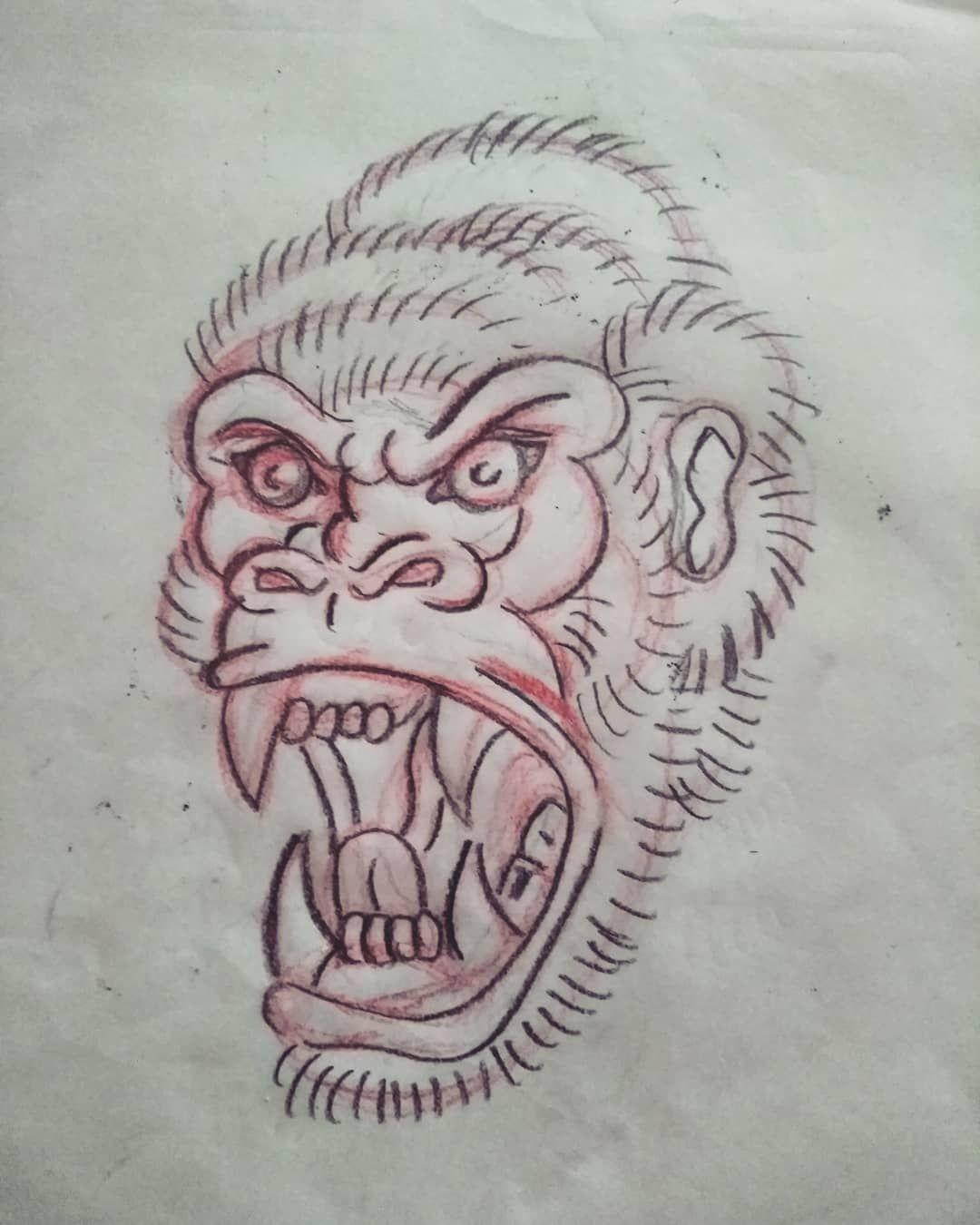 Bocetos De Tatuajes Tradicionales gorila diseño new tradicional sketch- boceto