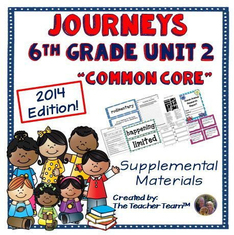 Journeys 6th Grade Unit 2 Supplemental Materials 2014 : This bundle contains a variety of activities from each lesson of Unit 2 to teach, re-teach, practice or assess the various lessons taught. Each activity is unique to each lesson. 4