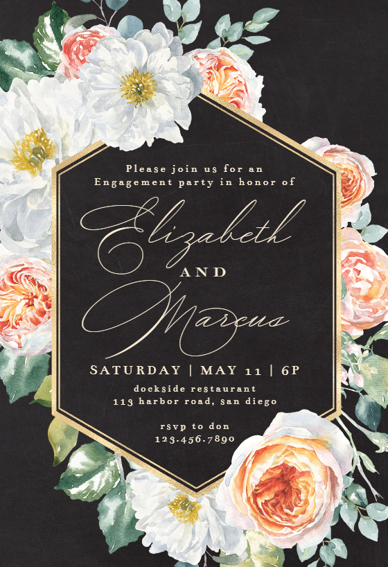 Watercolor Floral Geometric Engagement Party Invitation Template Free Greetings Island Engagement Party Invitations Geometric Wedding Invitation Party Invite Template