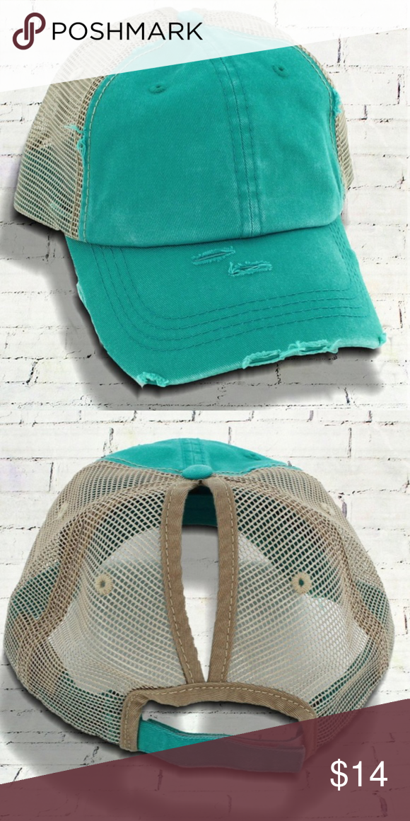 DISTRESSED TURQUOISE MESH PONYTAIL CAP You don t even have to take your  hair down dcdd296755f6