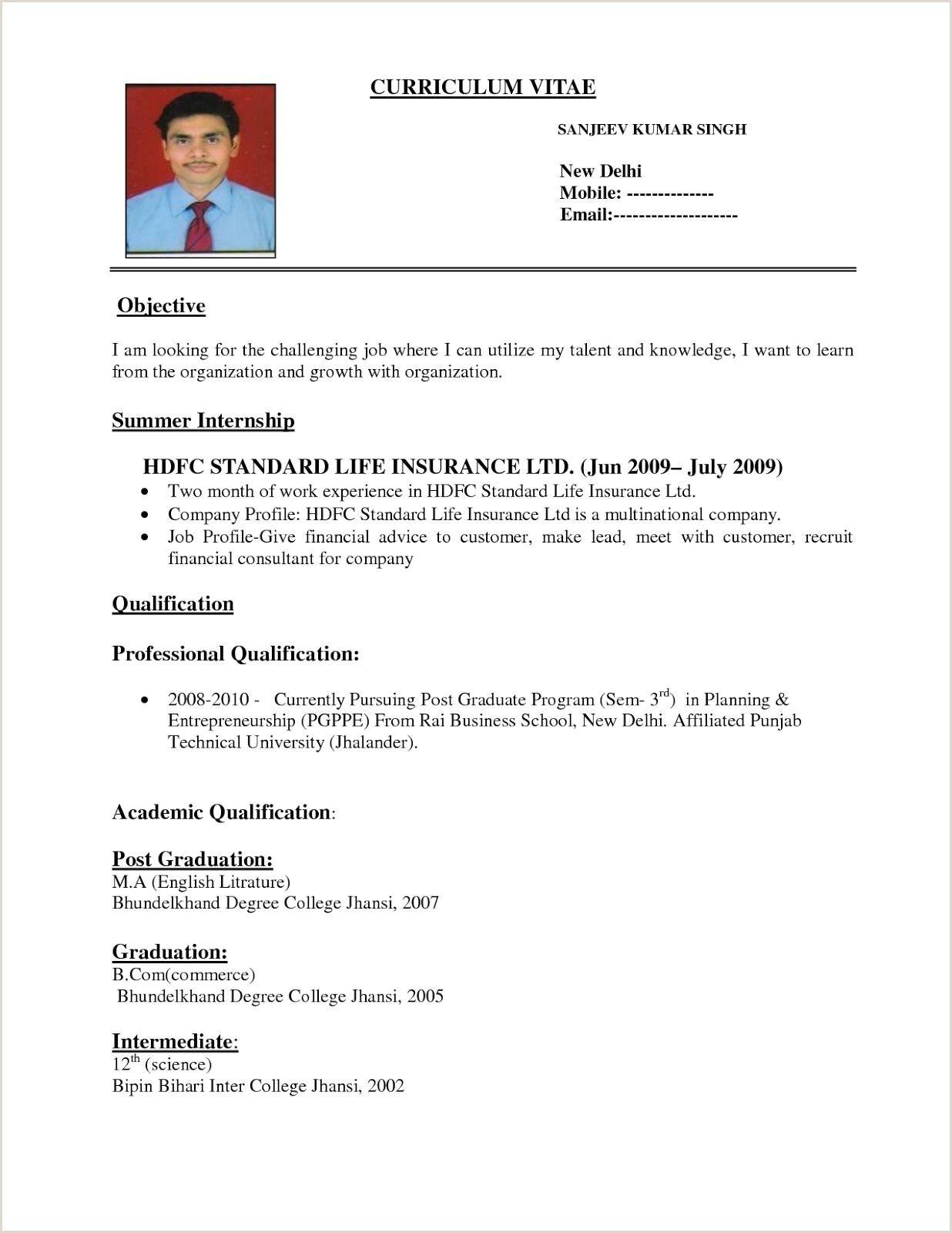 Fresher Resume format for Commerce Graduate Fresher Resume