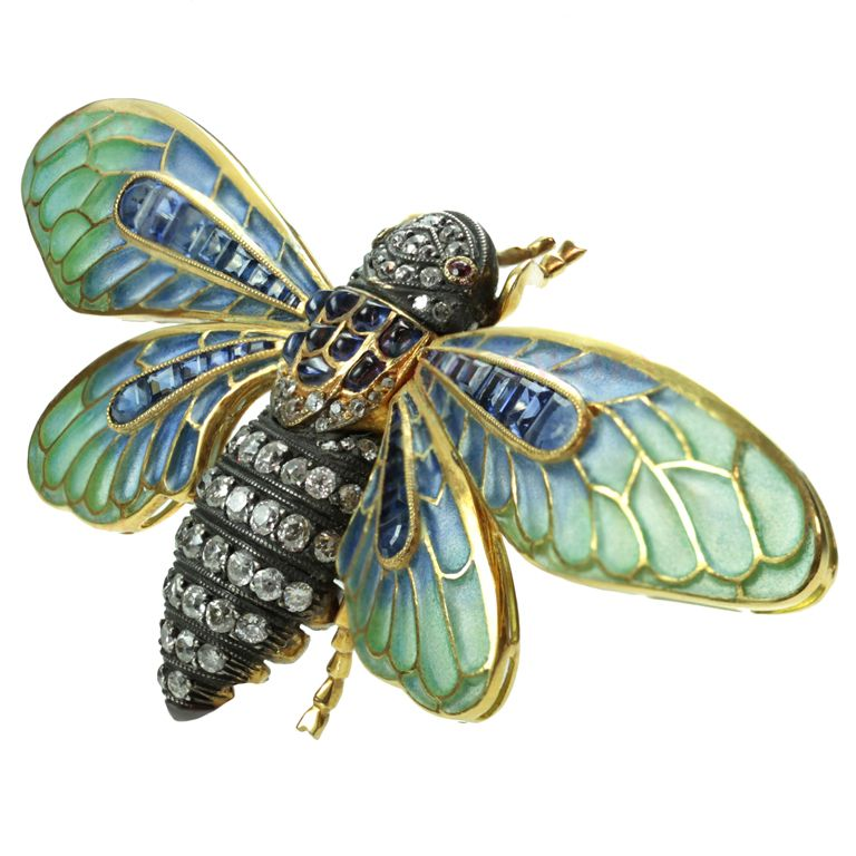 7fe852d4f43 Antique Diamond Sapphire Plique-a-Jour Enamel Dragonfly Brooch ...