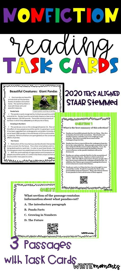 STAAR Reading Review Nonfiction Task Cards | Task cards ...