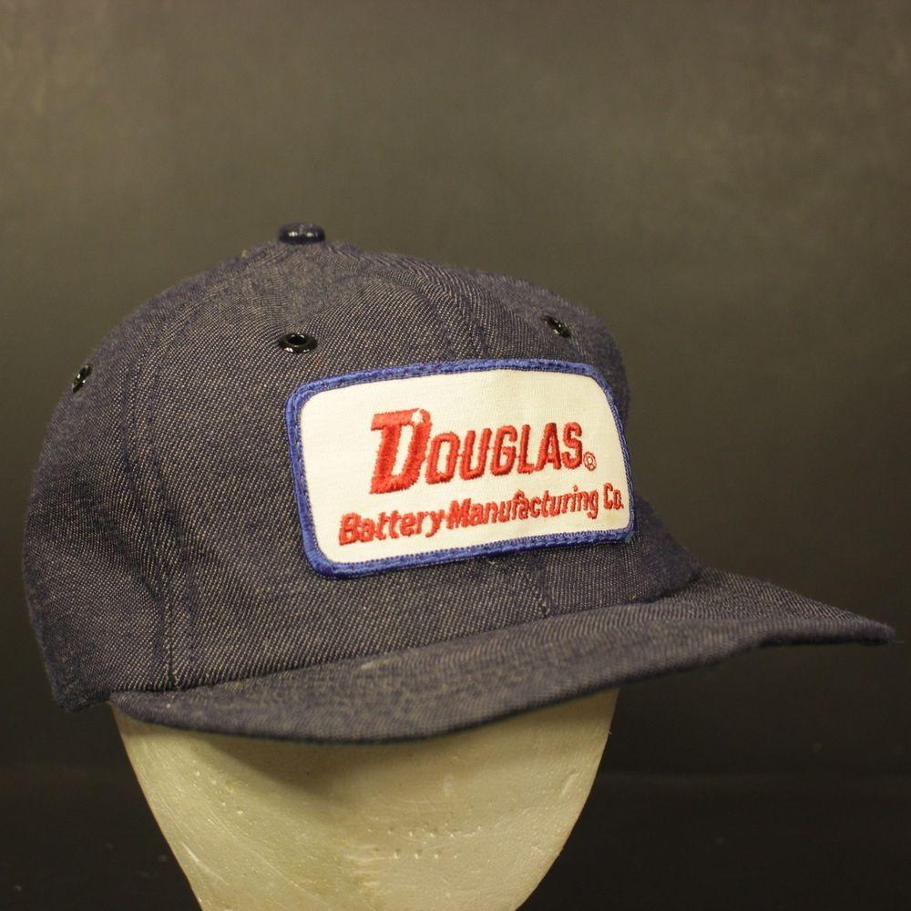 db6bbae41 Vintage Patch Trucker Hat Cap Snapback Denim Retro Douglas Battery ...