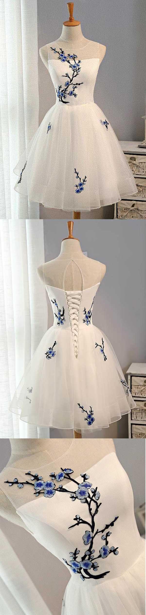 White aline tulle short prom dress white homecoming dress pd