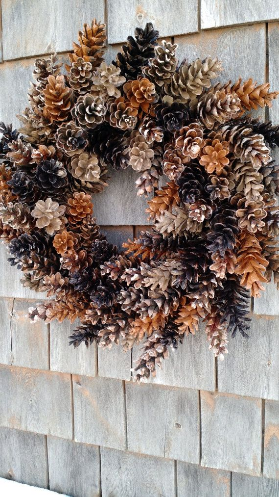 Photo of Rustic Maine Pinecone Wreath- Coffee and Caramel