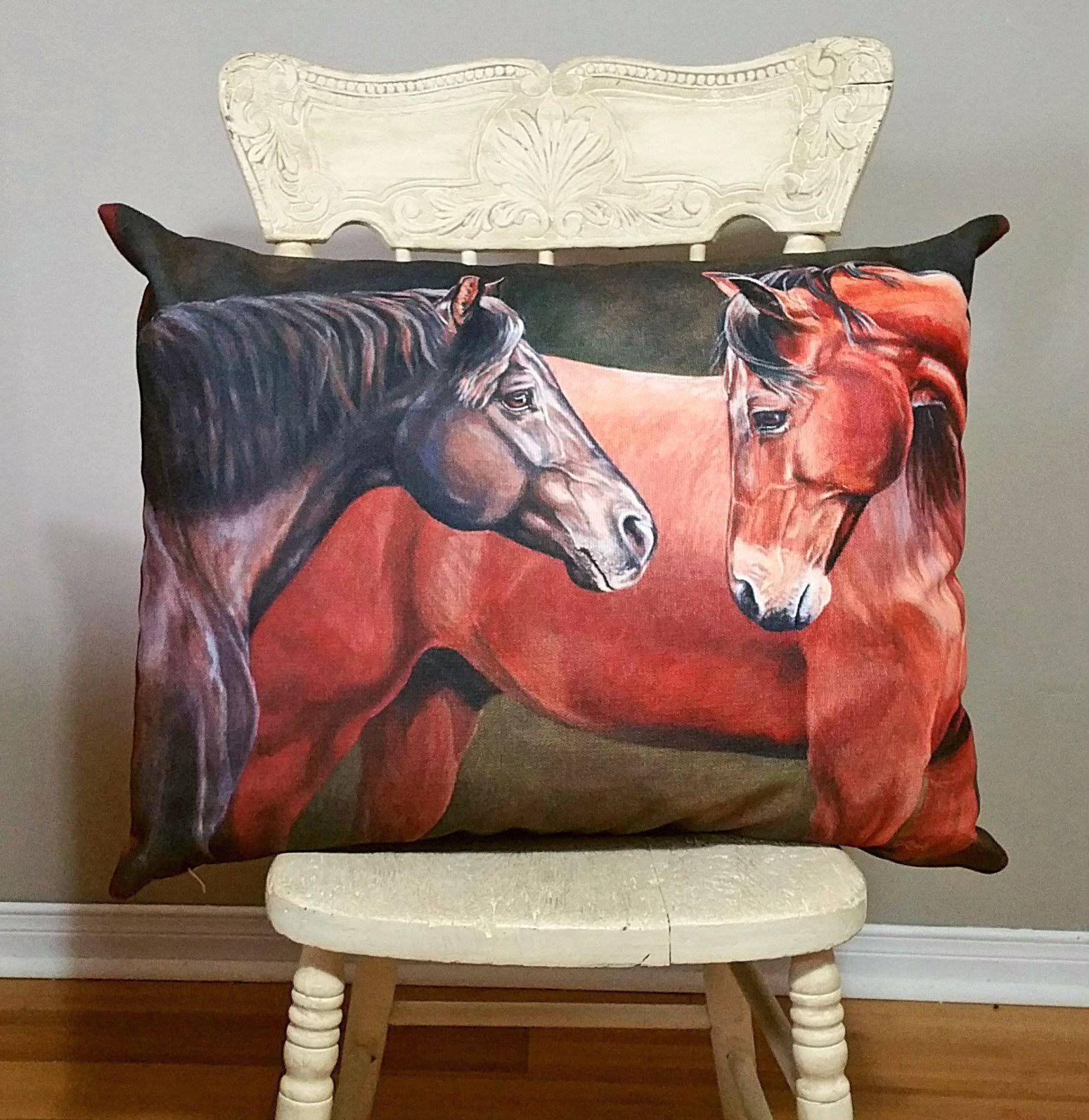 Forever Friends Equine Art Decor Pillow Cover 20x14, Horse Decor, Equestrian Home Decor, Horse Lovers, Horse Woman decor pillow, Western - #cover #decor #equine #forever #friends #horse #pillow - #EquineArt
