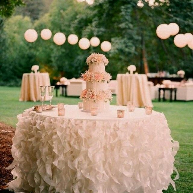 Beautiful Tut Layered Tablecloth What A Stunningly Simple Outdoor Wedding Blush Pink Wedding Cake Table Wedding Cake Table Decorations Cake Table Decorations