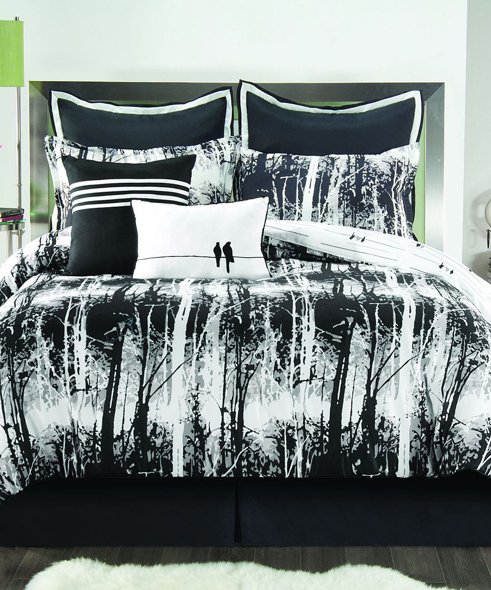 Vcny Home Black Amp White Woodland Eight Piece Comforter
