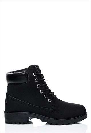 Morgan Lace Up Cleated Sole Flat Combat Walking Ankle Boots In 2018