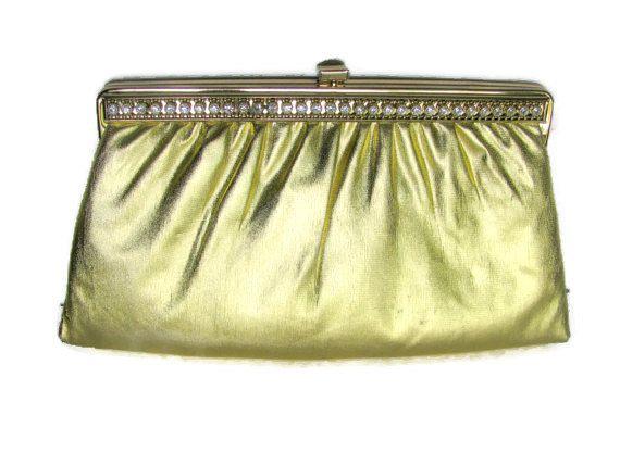 Gold Evening Bag Harry Levine Rhinestone Clutch Purse 1950- 60s