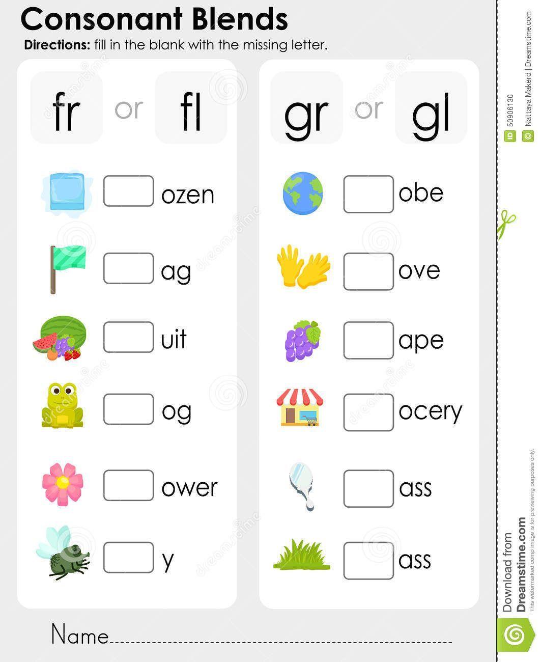 Consonant Blends Worksheets For Kindergarten Scalien For
