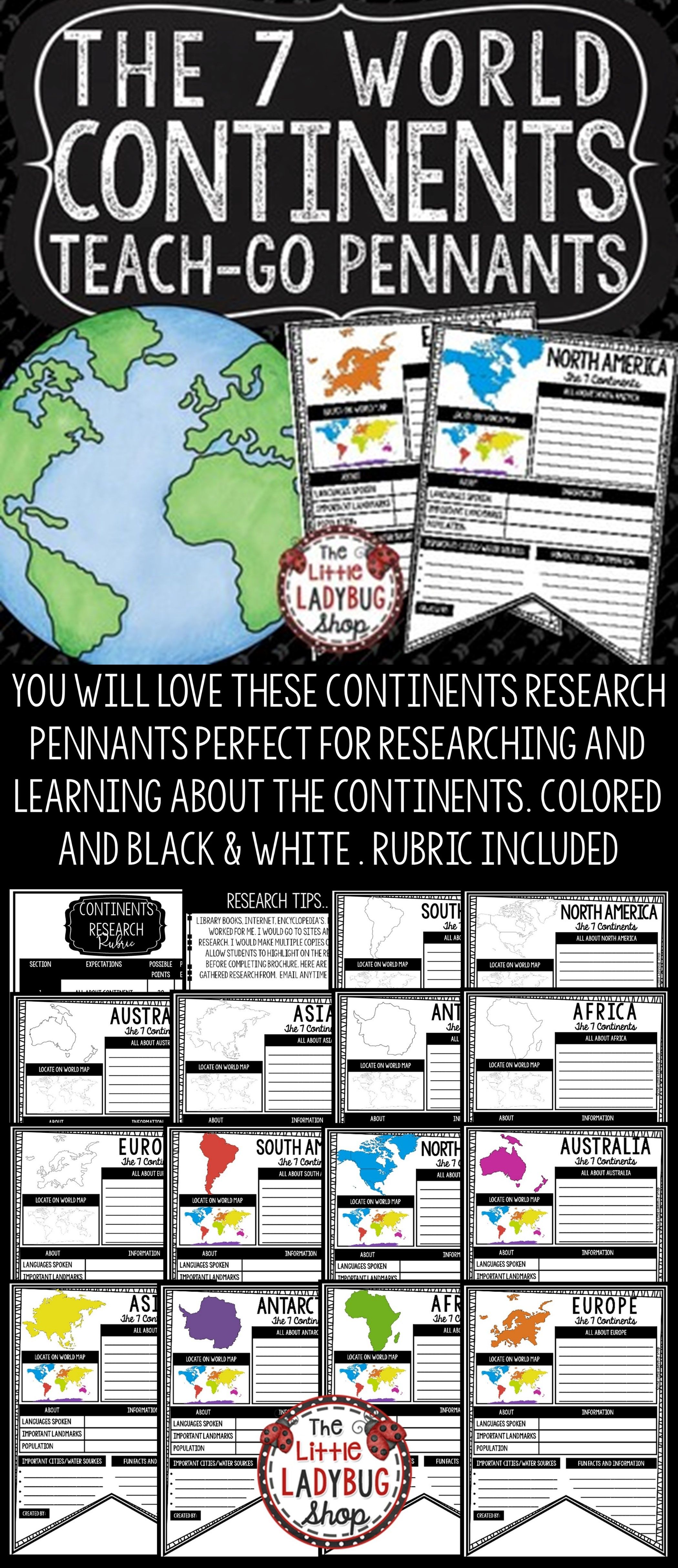 7 Continents Research Activities Teach Go Pennants