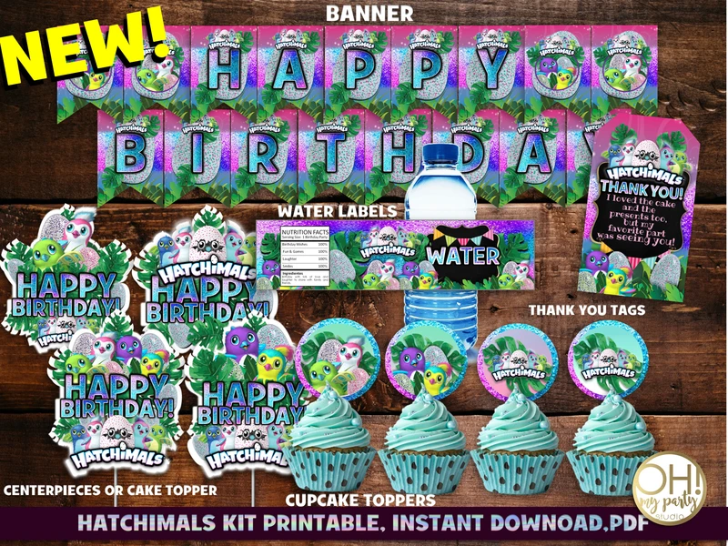HATCHIMALS PARTY PRINTABLES in 2020 Personalised cupcake