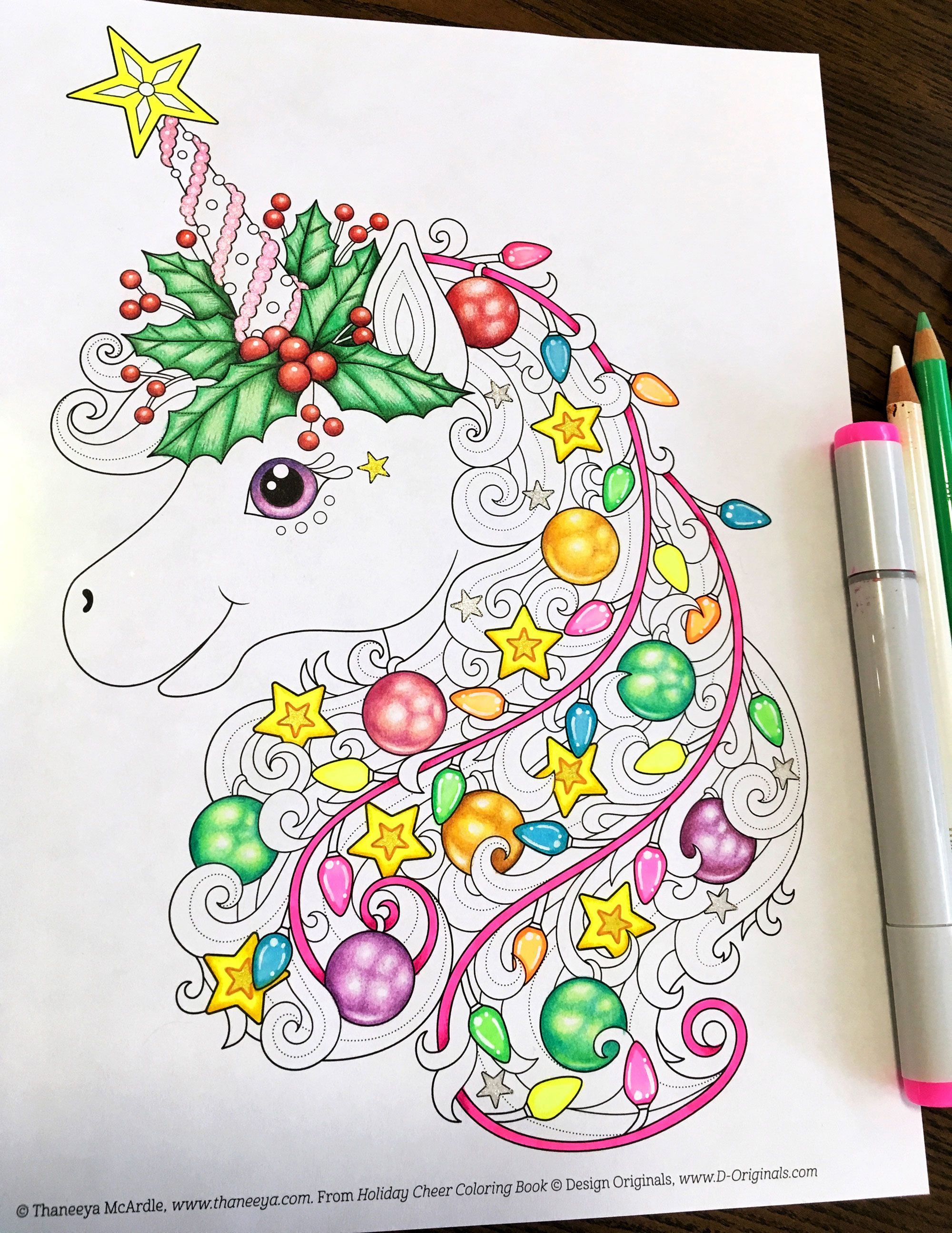Christmas Unicorn Coloring Page By Thaneeya Mcardle Unicorn Coloring Pages Coloring Books Christmas Coloring Pages