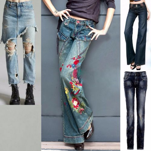 Women-Ladies-High-Waist-Bell-Bottom-Wide-Leg-Embroidery-Jeans-Denim-Pants