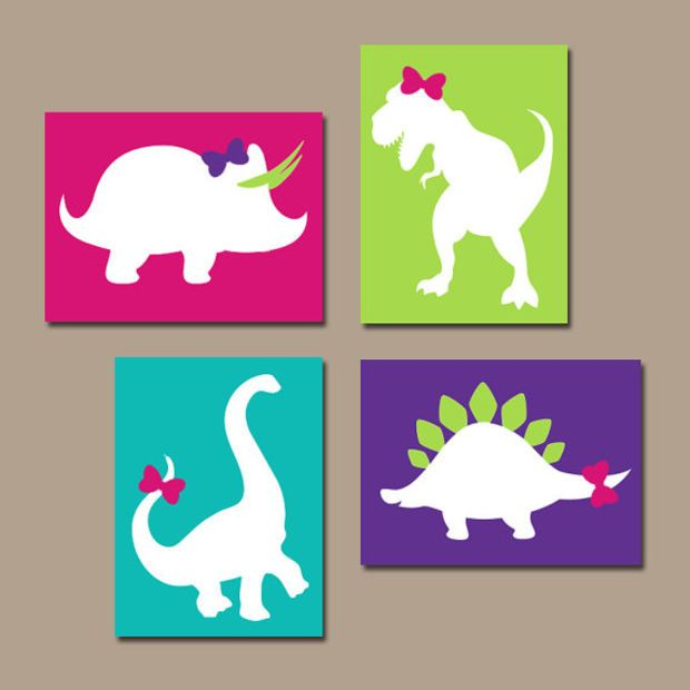 Girl DINOSAUR Wall Art, Canvas or Prints, DINOSAUR Nursery, Baby Girl Nursery Wall Art, Bedroom Pictures, Girl Artwork DINO Decor, Set of 4