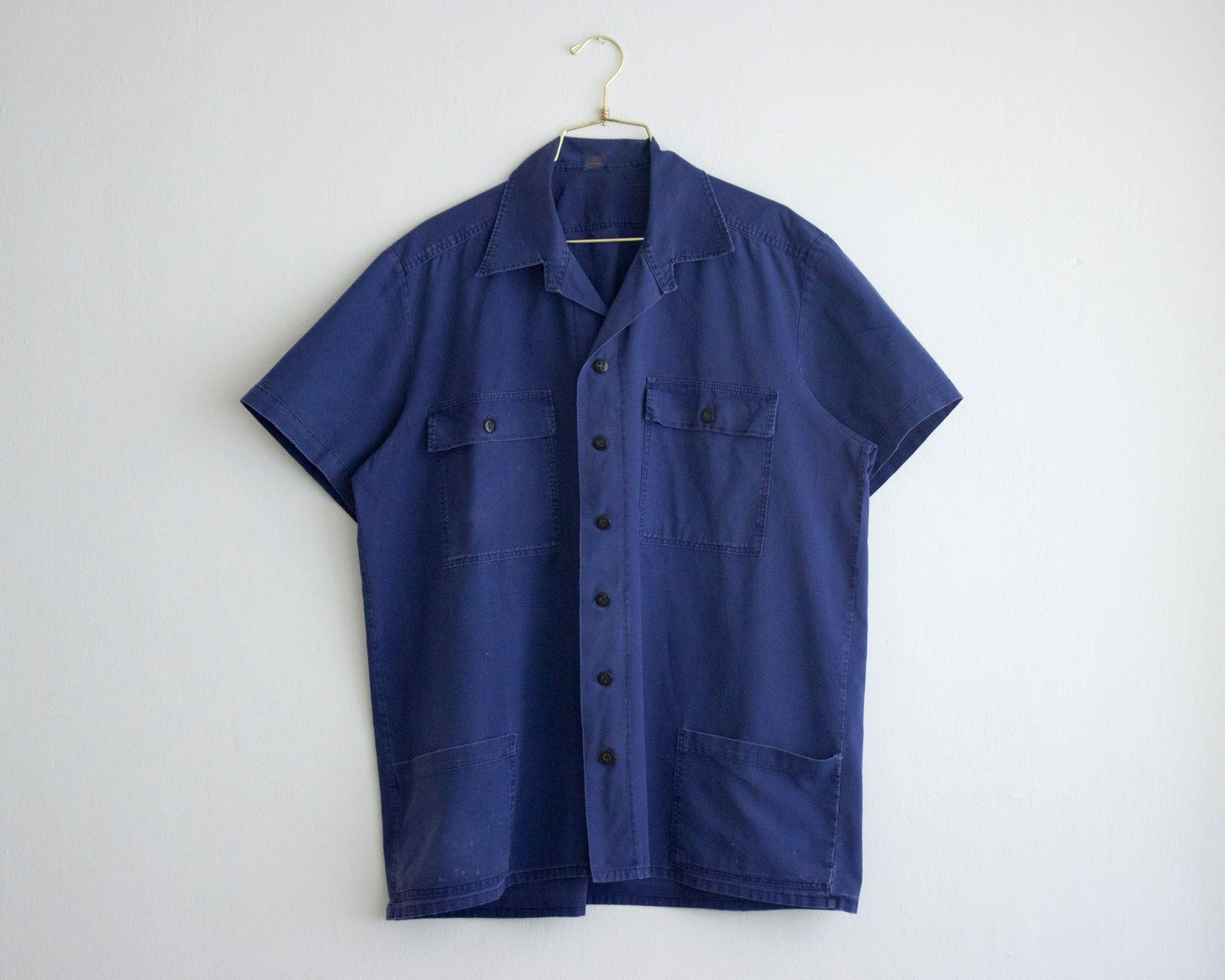70 S French Workwear Shirt Vintage Short Sleeve Navy Blue Shirt Industrial Work Shirt For Man Workwear Shirts Vintage Clothes Shop Vintage Shorts