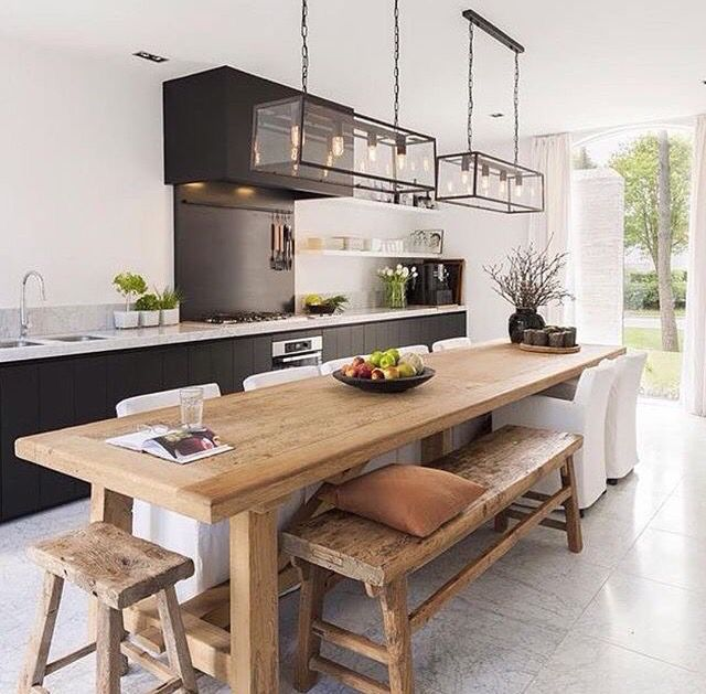 Extra Long Table Short Bench Chairs Kitchen Island Dining