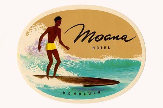 "Original Vintage Luggage Label from Honolulu, (Hawaii) This label was distributed by the ,""Moana Hotel"". The Hotel opened in 1901."