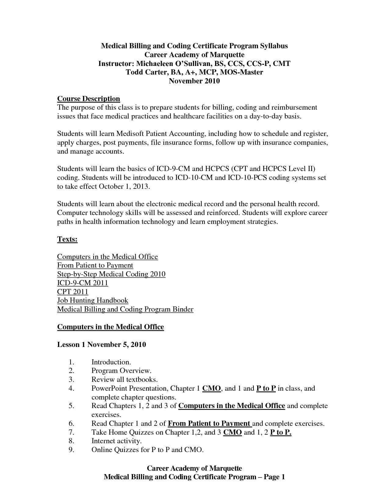 Sample Resume For Medical Billing Specialist in 2020