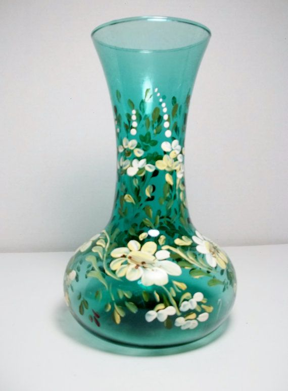 Green Glass Vase Hand Painted Design Folk Art Daisies Painted