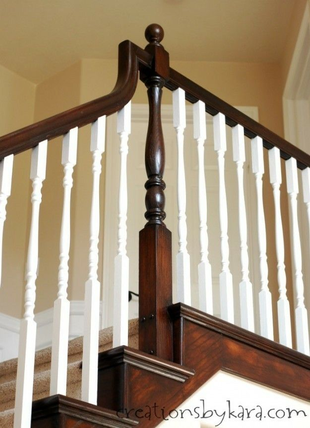 Best Walnut Base White Spindles Diy Staircase Makeover Diy 400 x 300