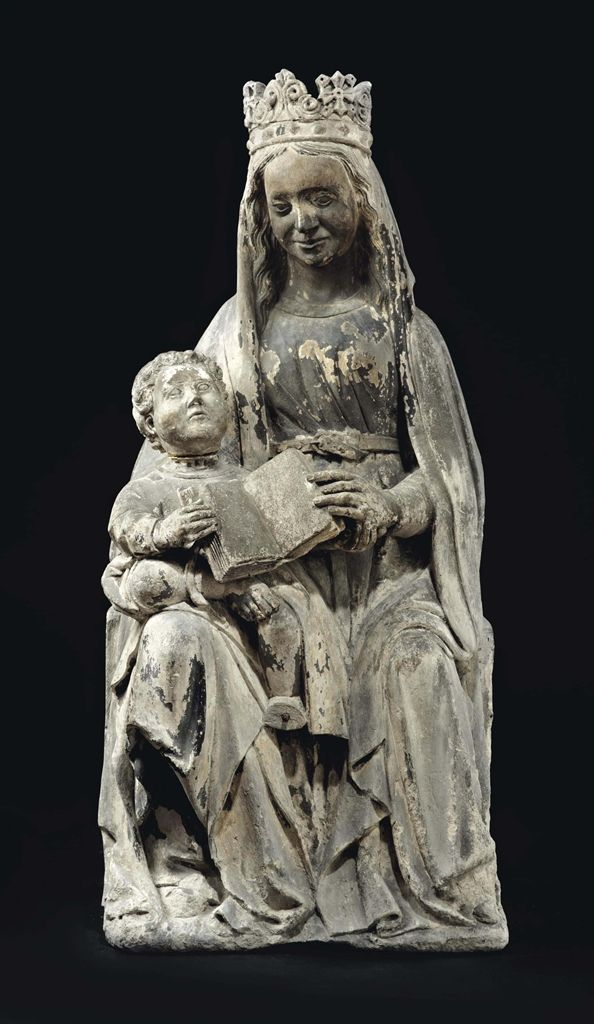 A POLYCHROME CARVED STONE FIGURE OF VIRGIN AND CHILD, FRENCH, LATE 15TH OR EARLY 16TH CENTURY