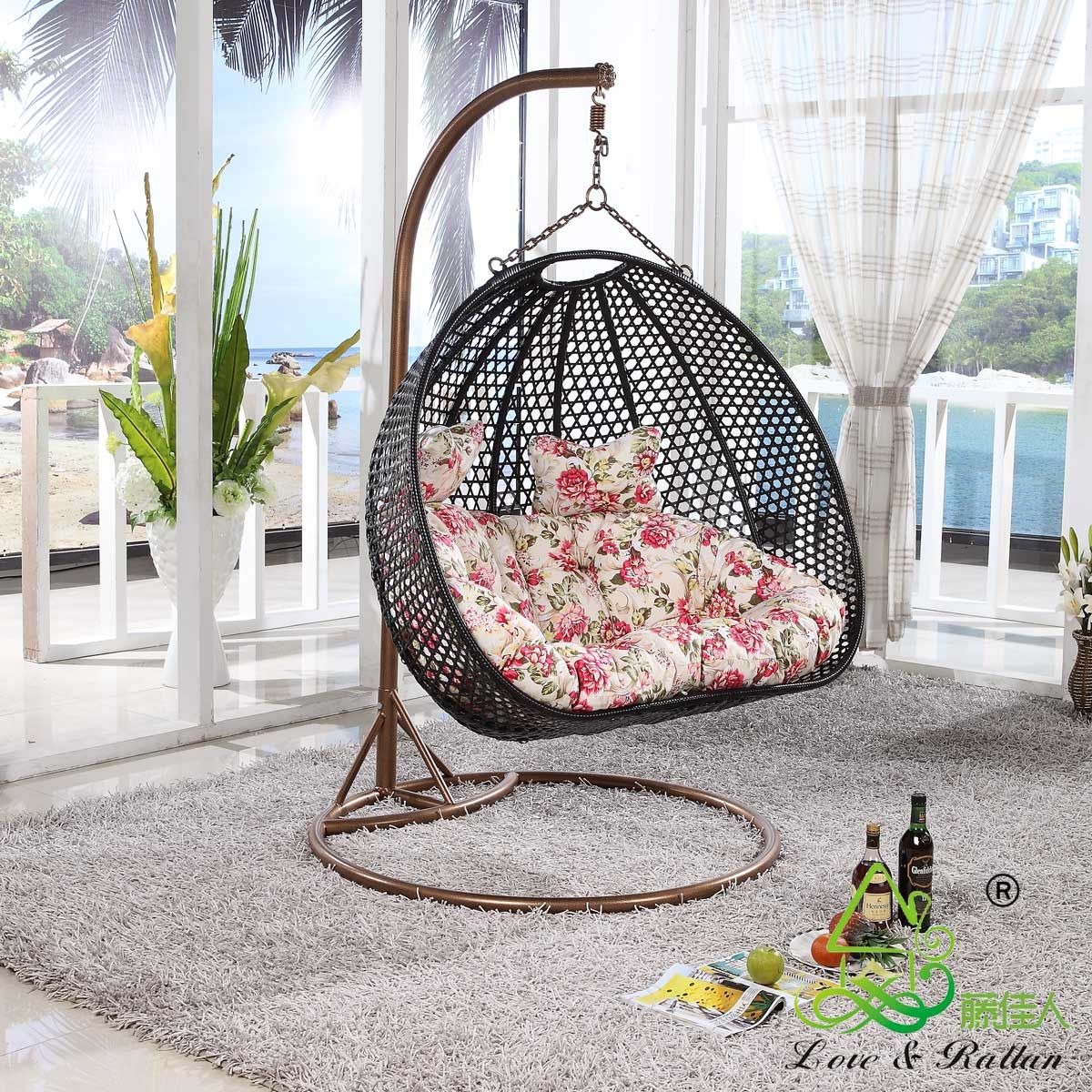 Furniture, Rattan Chair Outdoor Swing Hanging Basket Double ...
