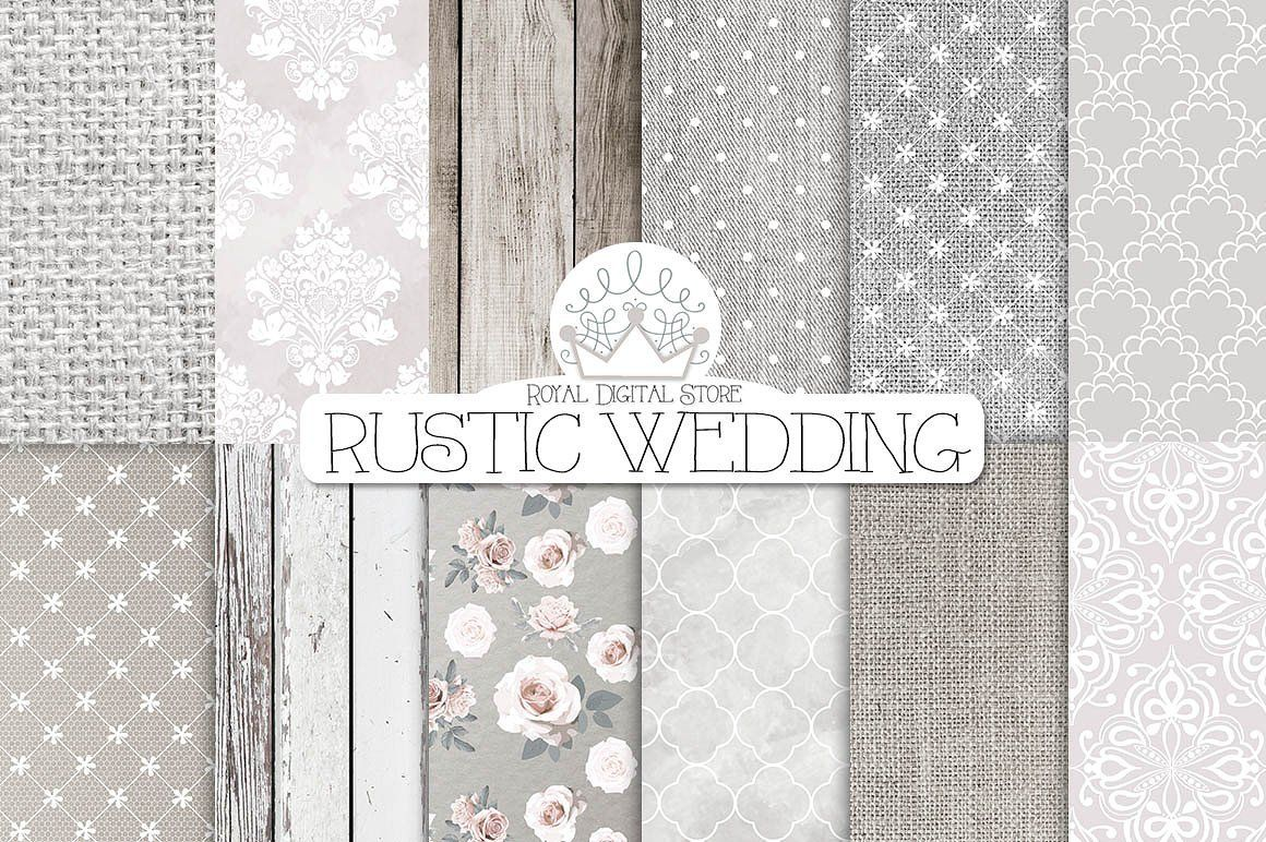 Rustic Wedding Digital Paper Textures Vintage Wedding