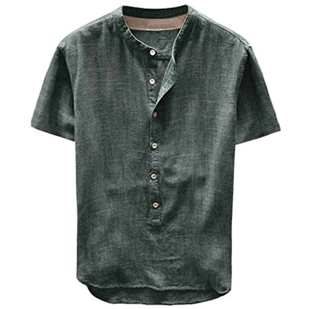 competitive price 91608 9e40f Modaworld Camicie Uomo Lino Allentata Comode E Traspiranti ...