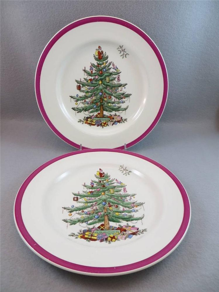 2 Dinner Plates Spode CHRISTMAS TREE Magenta Made in England #Spode & 2 Dinner Plates Spode CHRISTMAS TREE Magenta Made in England #Spode ...