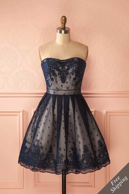 bf29284813e Robe bustier bleue de dentelle et filet - Blue mesh and lace strapless dress