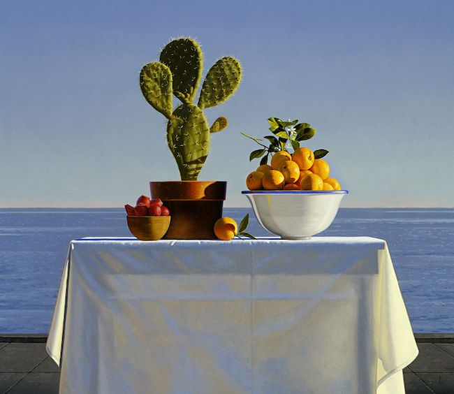 Still Life with Cactus and Oranges, 2001 | oil on canvas, 40 x 48 in. |  Private Collection