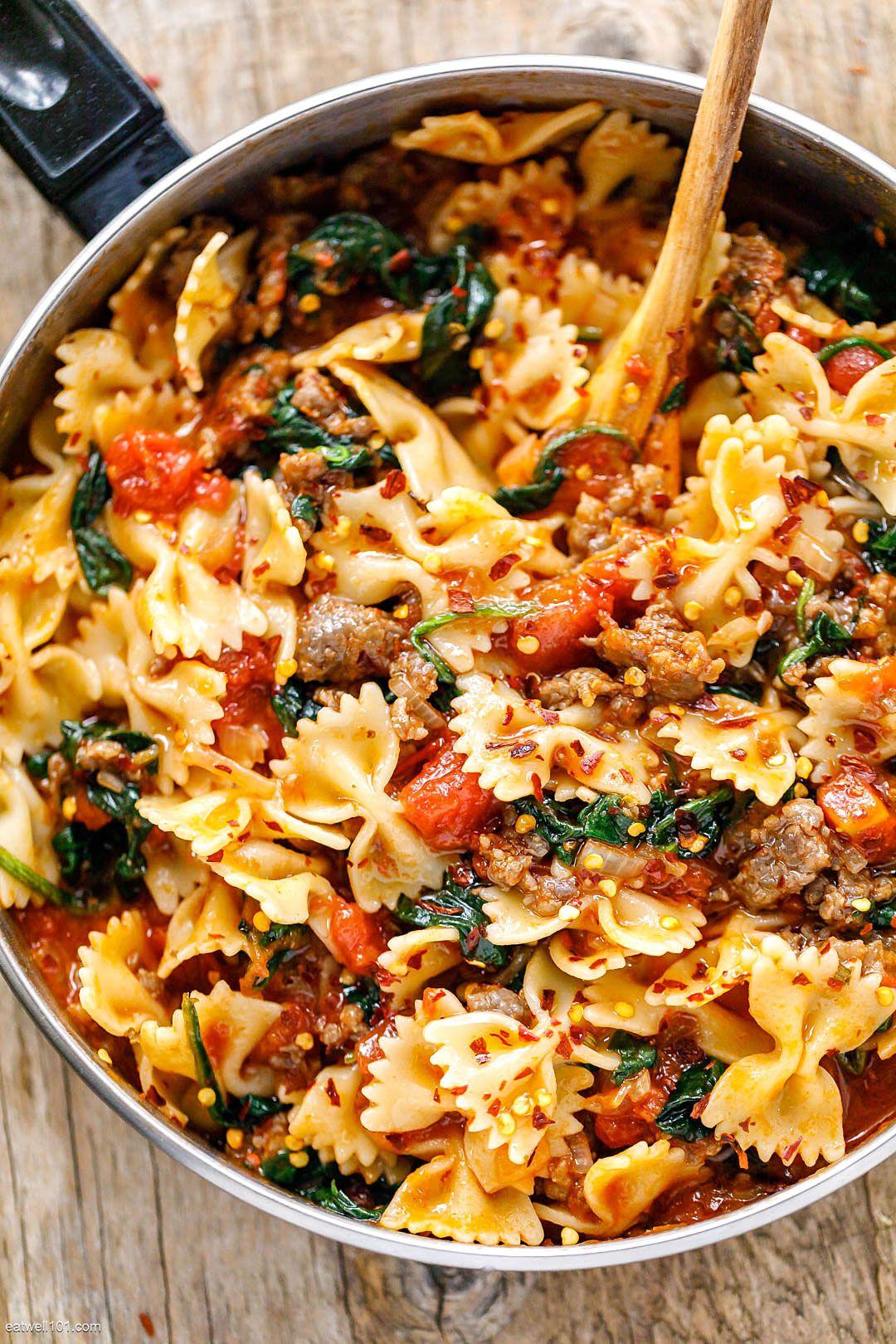 Tomato Spinach Sausage Pasta Recipe Pasta Dinner Recipes Health Dinner Recipes Best Pasta Recipes