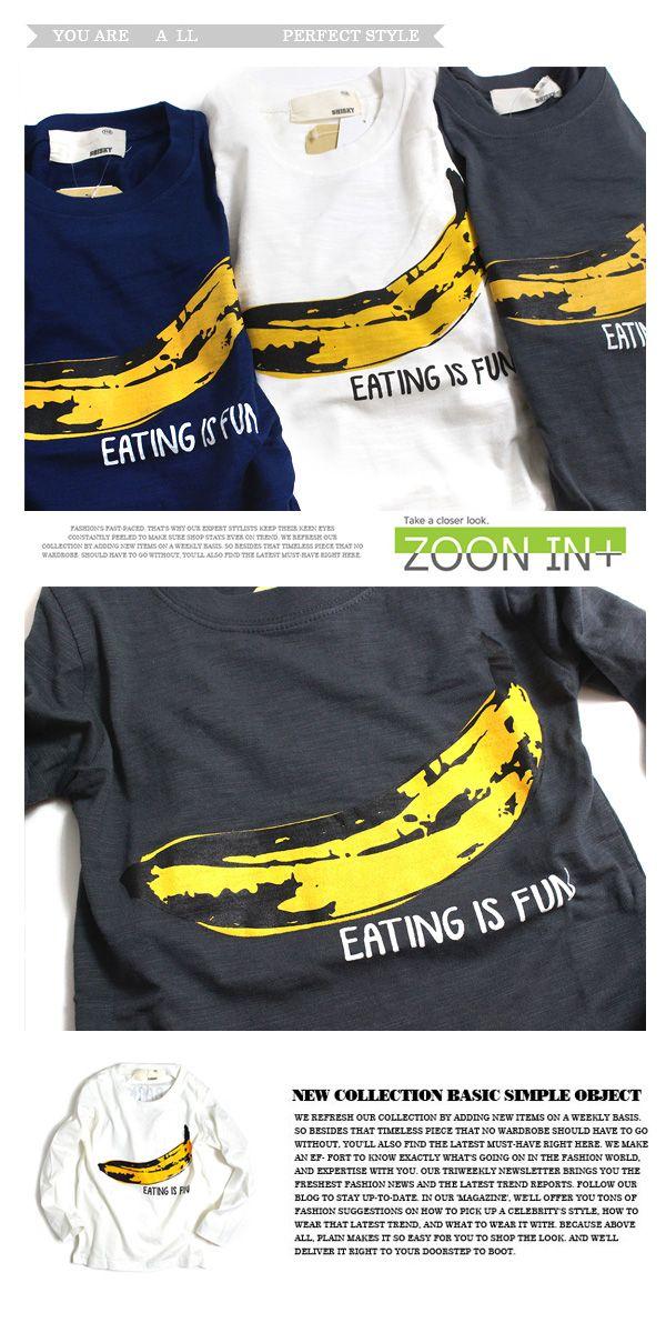 2d8bef6a7b452  楽天市場 バナナプリント 長袖Tシャツ韓国子供服 子供服 キッズ ジュニア 男の子 女の子:mb2
