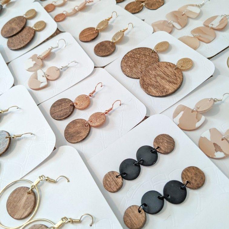 Stick Earrings Holiday Earrings Color Blocked Earrings Handpainted Wood Earrings Spring Earrings Long Earrings Wood Earrings