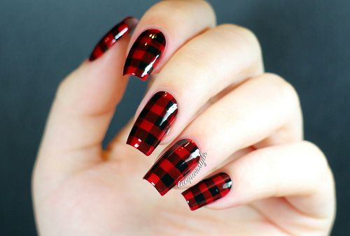 Red & Black Lumberjack Plaid Nails - lacquerstyle - Red & Black Lumberjack Plaid Nails - Lacquerstyle Nail Designs