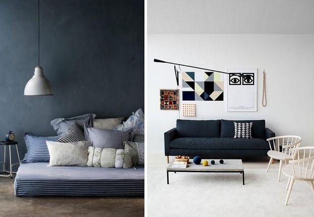 Idée déco avec bleu marine salon chambre canapé peinture mur style ...