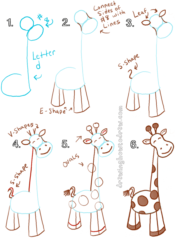big guide to drawing cartoon giraffes with basic shapes for kids how to draw step - Basic Drawings For Kids