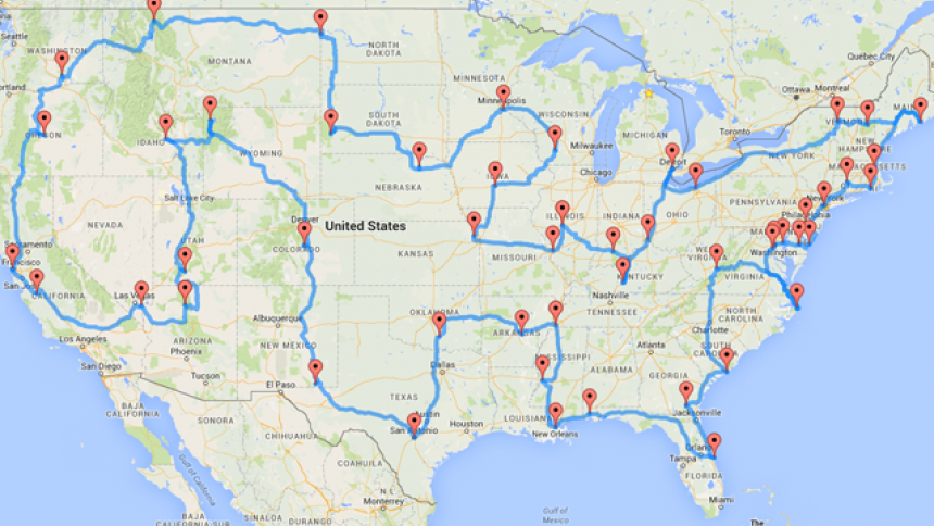 This Map Shows the Ultimate US Road Trip Trips Us road trip
