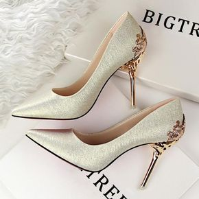 Spring Summer Women High Heels Shoes Pointed Matel Heels Pumps Fashion Sexy  Heeled Carved Metal Office Wedding Shoes G1723-1 80e8d9cd7eac
