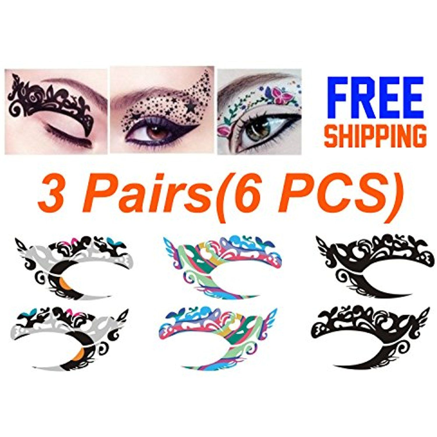 Temporary Eye Tattoo 3 Pairs(6PCS) Different Models