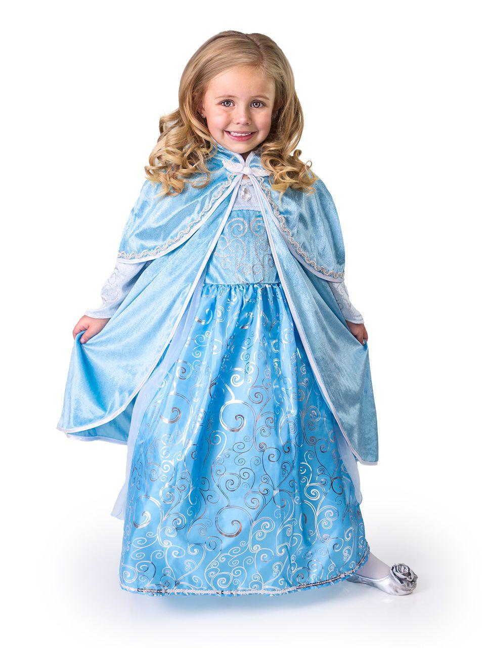 Light Blue Panne Velvet Hooded Cape Child Costume Accessory Girls Winter