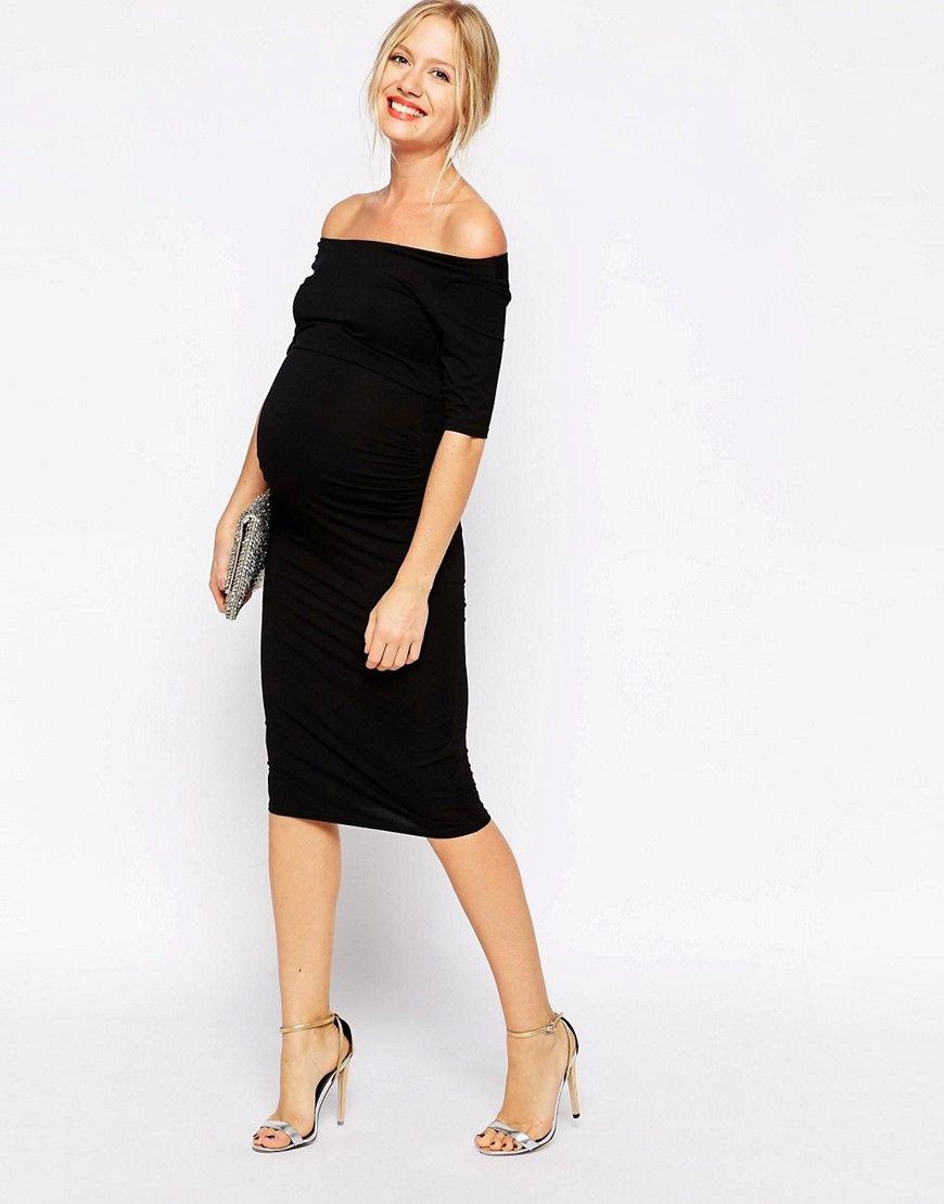 6ff4accac830c Image 4 of ASOS Maternity TALL Bardot Dress With Half Sleeve | Modna ...