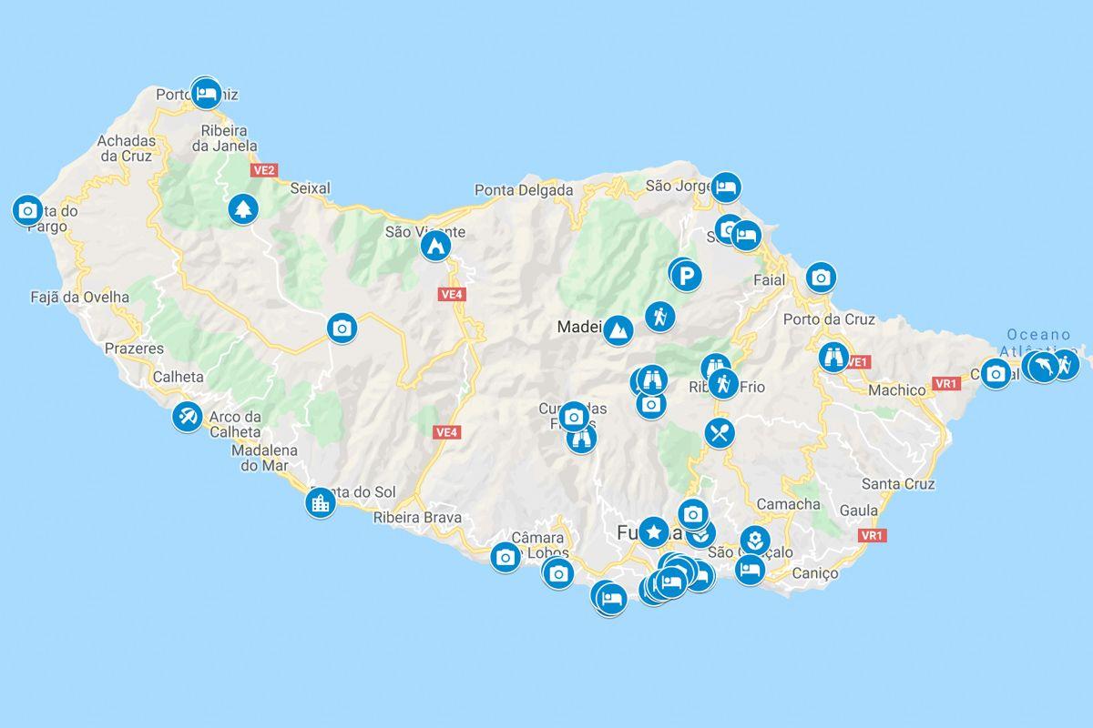 Madeiran Kartta Nayttaa Madeiran Parhaat Kohteet Ja Nahtavyydet