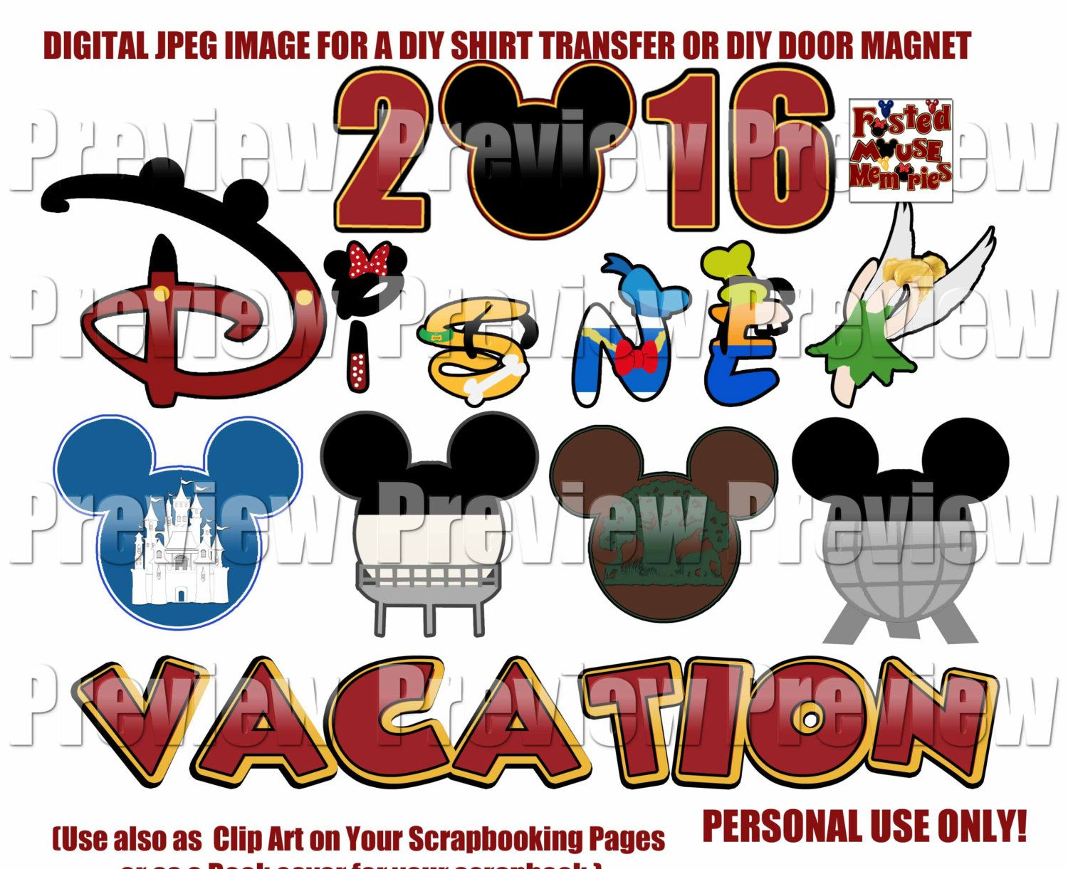 Printable family disney mouse heads shirt transfer diy disney shirts