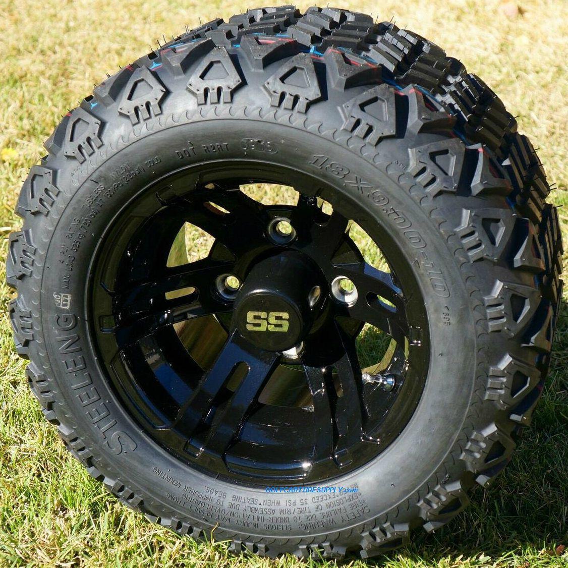 10 Bulldog Black Golf Cart Wheels And 18x9 10 Dot All Terrain Golf Cart Tires Combo Golf Cart Tire Supply Golf Cart Tires Golf Cart Wheels Golf Carts